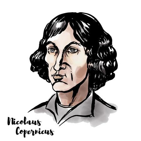 Retrato de vector de acuarela de Nicolaus Copernicus con contornos de tinta. Matemático y astrónomo de la era del Renacimiento que formuló un modelo del universo.