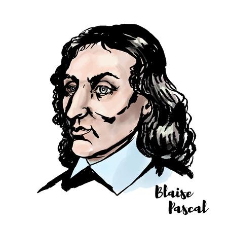 Retrato de vector de acuarela de Blaise Pascal con contornos de tinta. Matemático, físico, inventor, escritor y teólogo católico francés. Logos