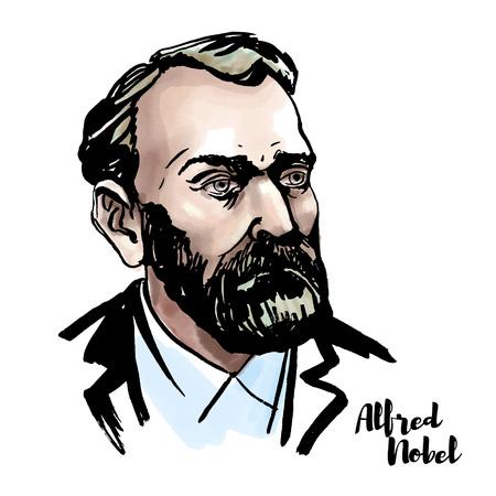 Retrato de vector acuarela de Alfred Nobel con contornos de tinta. Químico, ingeniero, inventor, empresario y filántropo sueco.