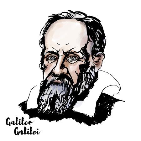 Ritratto di vettore dell'acquerello di Galileo Galilei con contorni di inchiostro. Il poliedrico italiano.