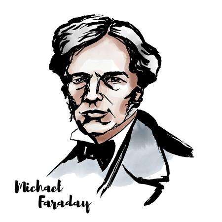 Retrato de vector acuarela de Michael Faraday con contornos de tinta. Científico inglés que contribuyó al estudio del electromagnetismo y la electroquímica. Ilustración de vector