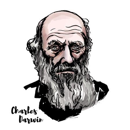 Retrato de vector de acuarela de Charles Darwin con contornos de tinta. Naturalista, geólogo y biólogo inglés, mejor conocido por sus contribuciones a la ciencia de la evolución.