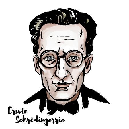 Erwin Schroedinger ritratto vettoriale ad acquerello con contorni di inchiostro