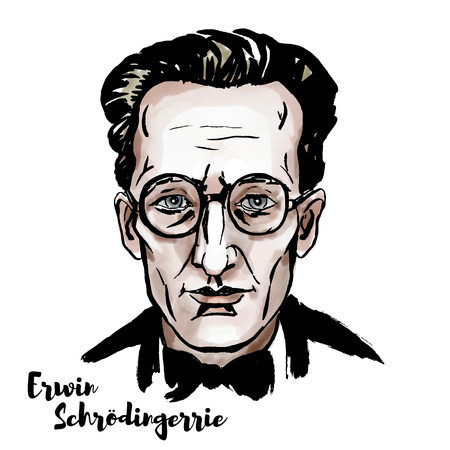 Erwin Schroedinger watercolor vector portrait with ink contours