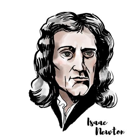 Ritratto di vettore dell'acquerello di Isaac Newton con contorni di inchiostro. Matematico, astronomo, teologo, scrittore e fisico inglese. Logo