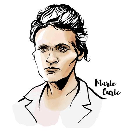 Marie Skłodowska Curie akwarela wektor portret z konturami tuszu. Pierwsza kobieta, która zdobyła Nagrodę Nobla.