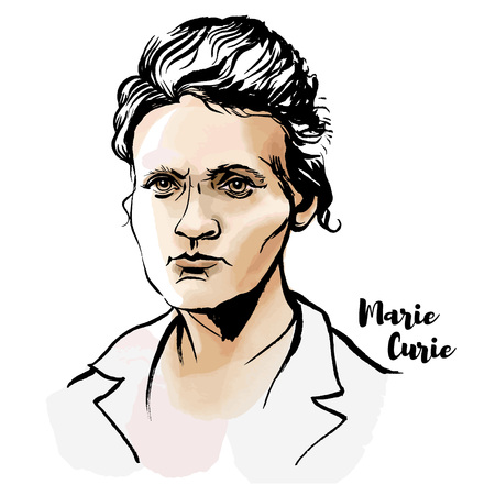 Marie Sklodowska Curie watercolor vector portrait with ink contours. The first woman to win a Nobel Prize.