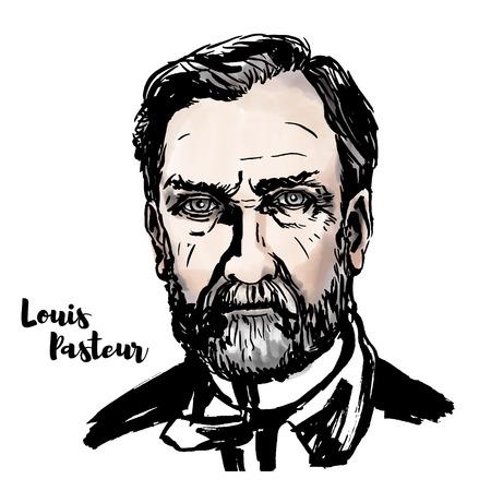 Retrato de vector de acuarela de Louis Pasteur con contornos de tinta. Biólogo, microbiólogo y químico francés reconocido por sus descubrimientos de los principios de vacunación, fermentación microbiana y pasteurización. Logos