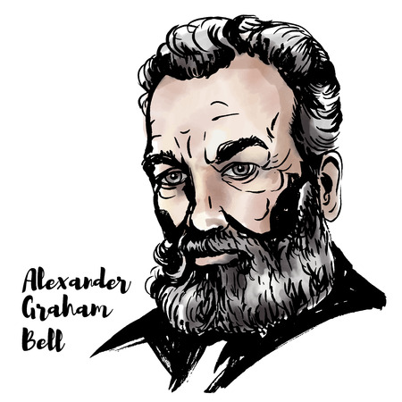 Alexander Graham Bell watercolor vector portrait with ink contours. Scottish-born scientist, inventor, engineer, and innovator