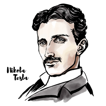 Retrato de vector acuarela de Nikola Tesla con contornos de tinta. Inventor, ingeniero eléctrico, ingeniero mecánico, físico y futurista serbio-estadounidense.