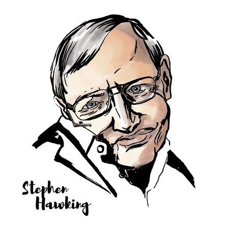 Mosca, Russia - 11 giugno 2018: Ritratto di vettore dell'acquerello di Stephen Hawking con contorni di inchiostro. Fisico teorico inglese, cosmologo e autore di numerosi libri popolari in fisica. Logo