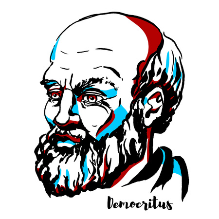Democritus engraved vector portrait with ink contours. Ancient Greek pre-Socratic philosopher primarily remembered today for his formulation of an atomic theory of the universe.
