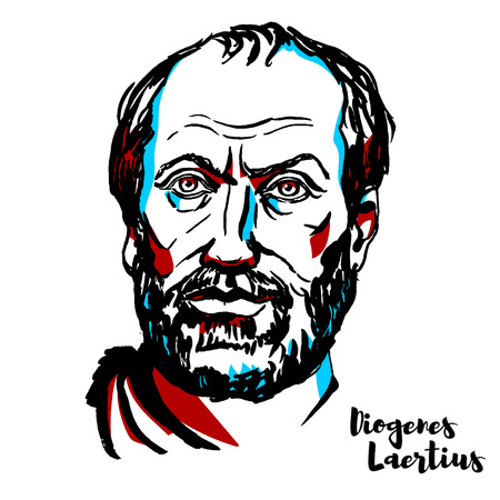 Diogenes Laertius engraved vector portrait with ink contours. Greek biographer of the Greek philosophers.