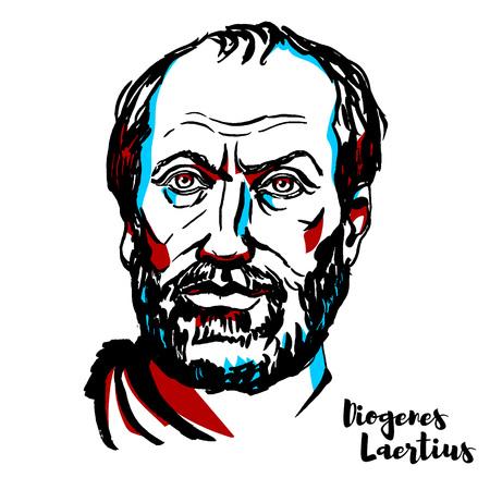 Diogenes Laertius engraved vector portrait with ink contours. Greek biographer of the Greek philosophers. Vector Illustratie