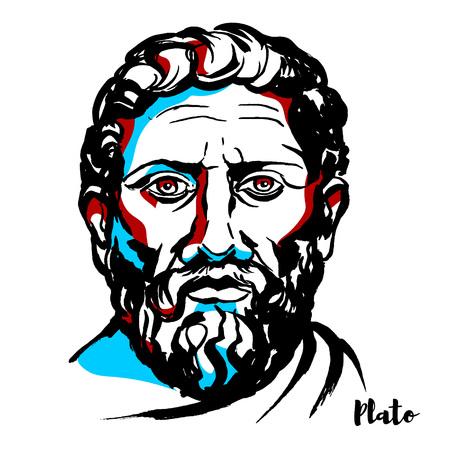 Portrait vectoriel gravé de Platon avec contours à l'encre. Philosophe de la Grèce classique et fondateur de l'Académie d'Athènes, la première institution d'enseignement supérieur du monde occidental.
