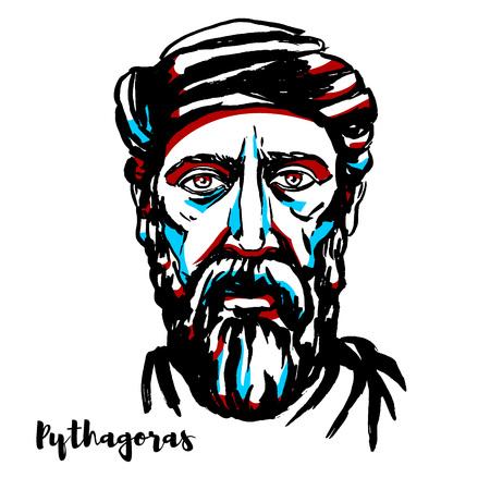Portrait vectoriel gravé de Pythagore avec contours à l'encre. Philosophe grec ionien et fondateur éponyme du mouvement pythagoricien.