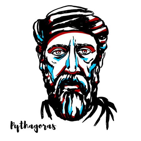 Pythagoras engraved vector portrait with ink contours. Ionian Greek philosopher and the eponymous founder of the Pythagoreanism movement. Ilustração