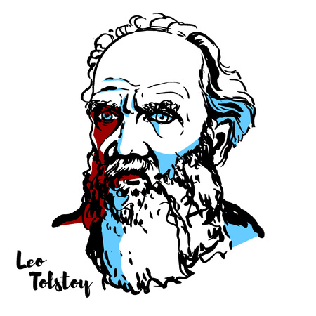 MOSCOW, RUSSIA - JUNE 25, 2018: Leo Tolstoy engraved vector portrait with ink contours. Russian writer who is regarded as one of the greatest authors of all time. Illustration