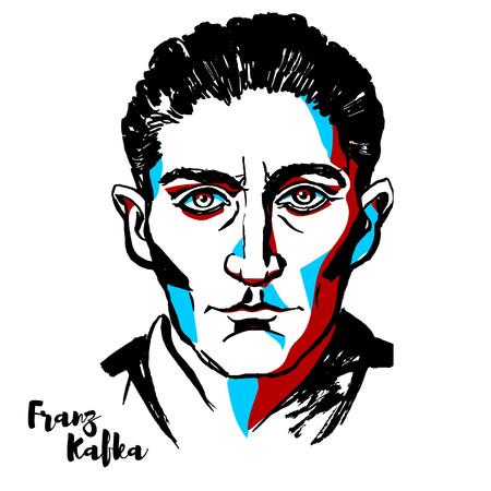 Mosca, Russia - 21 agosto 2018: Ritratto di vettore inciso Franz Kafka con contorni di inchiostro. Romanziere e scrittore di racconti ebreo boemo di lingua tedesca, ampiamente considerato come una delle figure principali della letteratura del XX secolo.