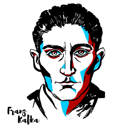 MOSCOW, RUSSIA - AUGUST 21, 2018: Franz Kafka engraved vector portrait with ink contours. German-speaking Bohemian Jewish novelist and short story writer, widely regarded as one of the major figures o