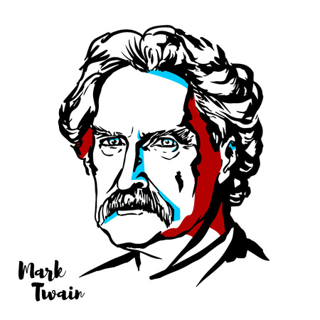 MOSCOW, RUSSIA - AUGUST 21, 2018: Mark Twain engraved vector portrait with ink contours.  American writer, humorist, entrepreneur, publisher, and lecturer. 向量圖像