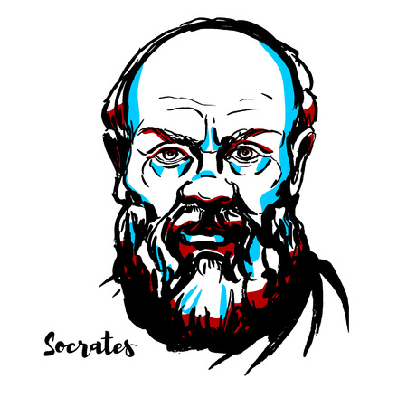 Socrates gegraveerd vectorportret met inktcontouren. Klassieke Griekse (Atheense) filosoof die wordt beschouwd als een van de grondleggers van de westerse filosofie en als de eerste moraalfilosoof van de westerse ethische traditie van denken.