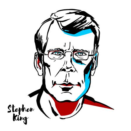 Mosca, Russia - 21 agosto 2018: Ritratto di vettore inciso Stephen King con contorni di inchiostro. Autore americano di horror, narrativa soprannaturale, suspense, fantascienza e fantasy. Vettoriali