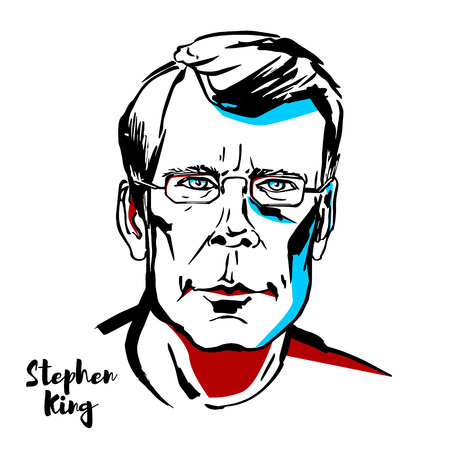 MOSCOW, RUSSIA - AUGUST 21, 2018: Stephen King engraved vector portrait with ink contours. American author of horror, supernatural fiction, suspense, science fiction and fantasy.