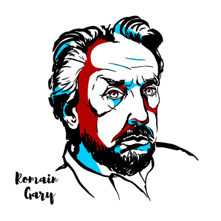 MOSCOW, RUSSIA - JUNE 25, 2018: Romain Gary engraved vector portrait with ink contours. French novelist, diplomat, film director, and World War II aviator of Jewish origin.