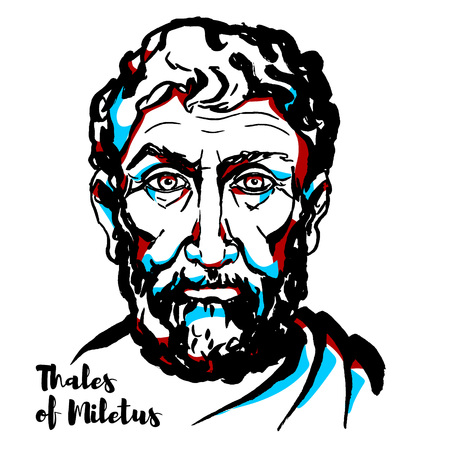 Thales of Miletus engraved vector portrait with ink contours. Pre-Socratic Greek philosopher, mathematician, and astronomer from Miletus in Asia Minor.