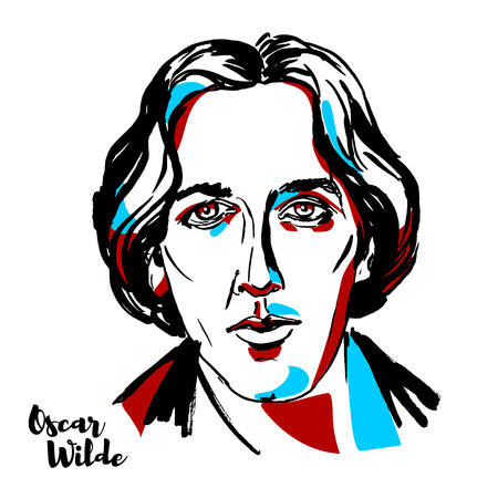 MOSCOW, RUSSIA - AUGUST 21, 2018: Oscar Wilde engraved vector portrait with ink contours. Irish poet and playwright. Vettoriali