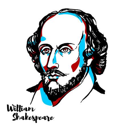 William Shakespeare grawerowany portret wektorowy z konturami atramentu. Angielski poeta, dramaturg i aktor, powszechnie uważany za największego pisarza języka angielskiego i najwybitniejszego dramaturga świata.