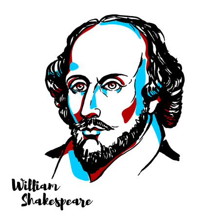 William Shakespeare engraved vector portrait with ink contours. English poet, playwright and actor, widely regarded as both the greatest writer in the English language and the world's pre-eminent dramatist. Vettoriali