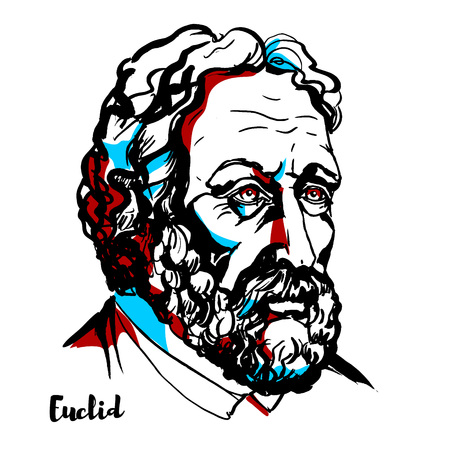 Euclid engraved vector portrait with ink contours. Greek mathematician, often referred to as the founder of geometry or the father of geometry.