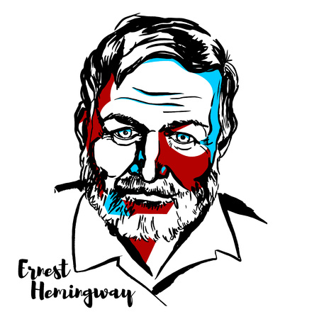 Mosca, Russia - 25 giugno 2018: Ritratto di vettore inciso Ernest Hemingway con contorni di inchiostro. Romanziere, scrittore di racconti e giornalista americano. Vettoriali