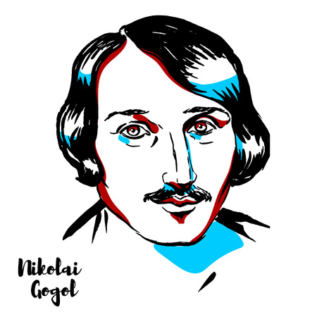 Retrato de vector grabado Nikolai Gogol con contornos de tinta. Dramaturgo ruso de origen ucraniano.
