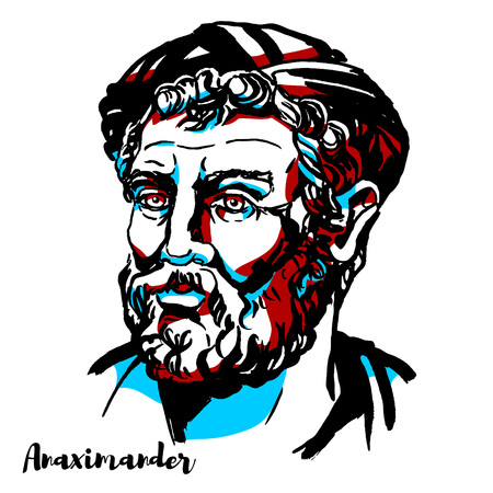 Anaximander engraved vector portrait with ink contours. Pre-Socratic Greek philosopher.