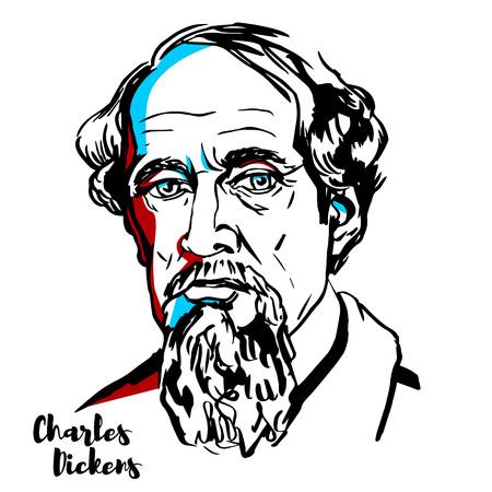 Charles Dickens gegraveerd vectorportret met inktcontouren. Engelse schrijver en maatschappijcriticus.