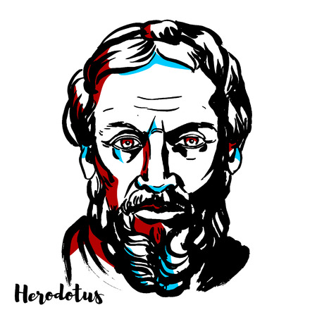 Herodotus engraved vector portrait with ink contours. Greek historian, The Father of History.