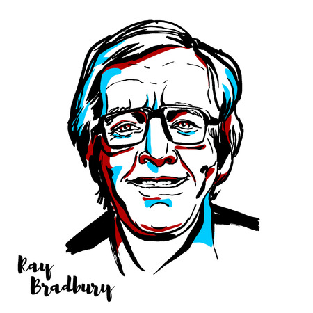 MOSCOW, RUSSIA - AUGUST 21, 2018: Ray Bradbury engraved vector portrait with ink contours. American author and screenwriter. Ilustrace