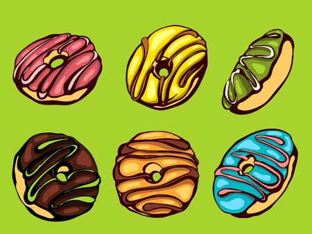 Hand drawn vector donuts set. Glazed and colored donuts in several foreshortening.