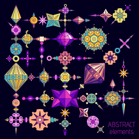 Vector abstract elements set made with different geometric shapes constructor. Colored with vivid colors on dark violet background.