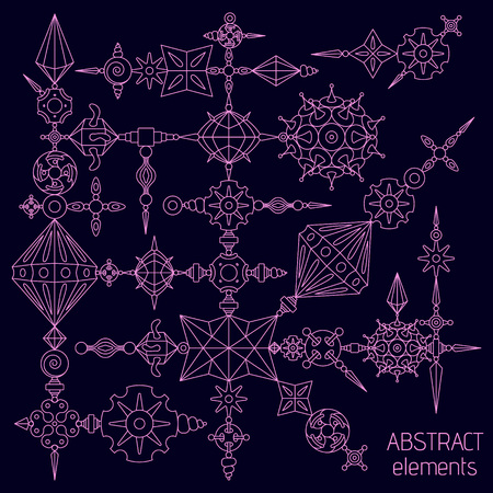 Vector abstract elements set made with different geometric shapes constructor. Magenta stroke on dark violet background.