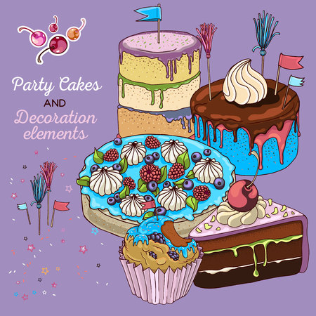 Hand drawn vector cake set with cupcake, piece of chocolate cake and three big cakes. isolated and fully editable. Unusual blue cream color, some berries and toppings. Cake flags, cocktail cherries and cocktail tassel toppers.