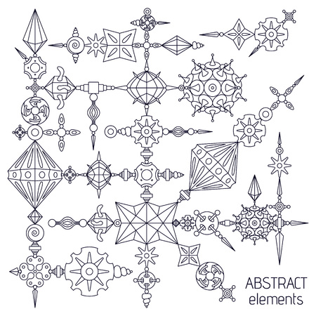 Vector abstract elements set made with different geometric shapes constructor. Dark violet stroke on white background.