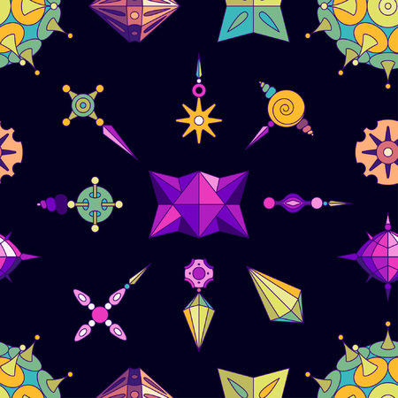 Vector abstract elements seamless pattern made with different geometric shapes constructor. Colored with vivid colors on dark violet background. Illustration