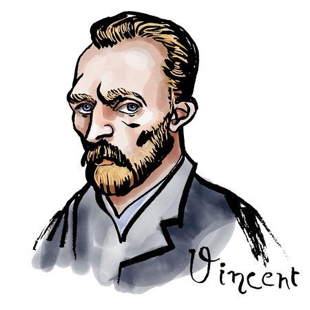 Vector retrato de acuarela dibujada a mano con el famoso artista Vincent van Gogh y su firma. Ilustración de vector