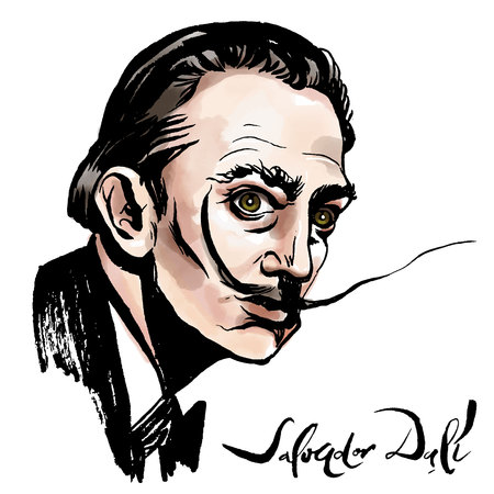 Vector hand drawn watercolor portrait with famous artist Salvador Dali and his signature.