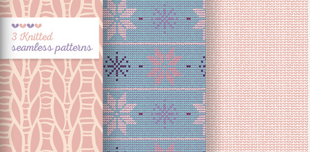 Knitted vector seamless ornament patterns with needlework loops and stitches in pale colors.