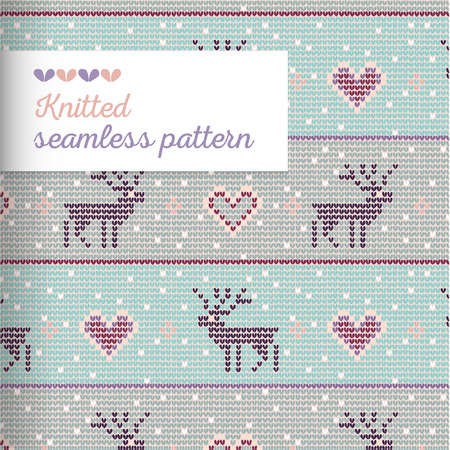 Knitted vector seamless ornament pattern with knitted deer, heart, needlework loops and stitches in pale colors.